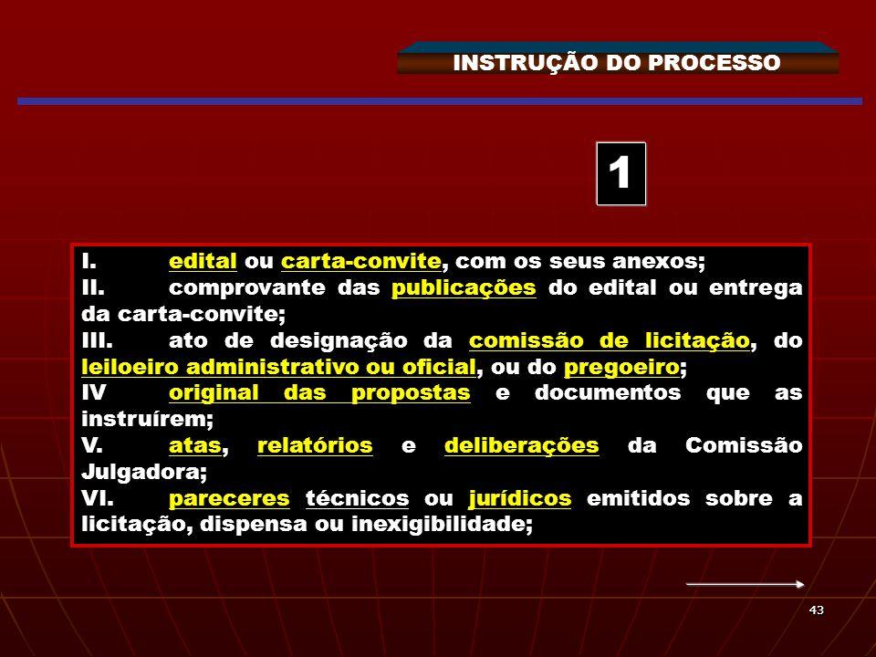4343 INSTRUÇÃO DO PROCESSO I.edital ou carta-convite, com os seus anexos; II.comprovante das publicações do edital ou entrega da carta-convite; III.at