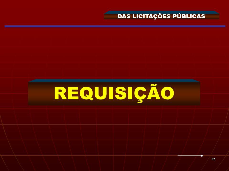 4646 DAS LICITAÇÕES PÚBLICAS REQUISIÇÃO