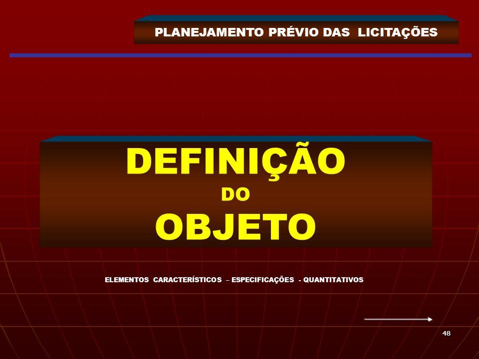 4848 PLANEJAMENTO PRÉVIO DAS LICITAÇÕES DEFINIÇÃO DO OBJETO ELEMENTOS CARACTERÍSTICOS – ESPECIFICAÇÕES - QUANTITATIVOS