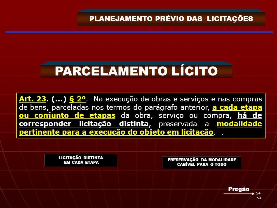 54 54 PLANEJAMENTO PRÉVIO DAS LICITAÇÕES PARCELAMENTO LÍCITO Art. 23. (...) § 2º. Na execução de obras e serviços e nas compras de bens, parceladas no