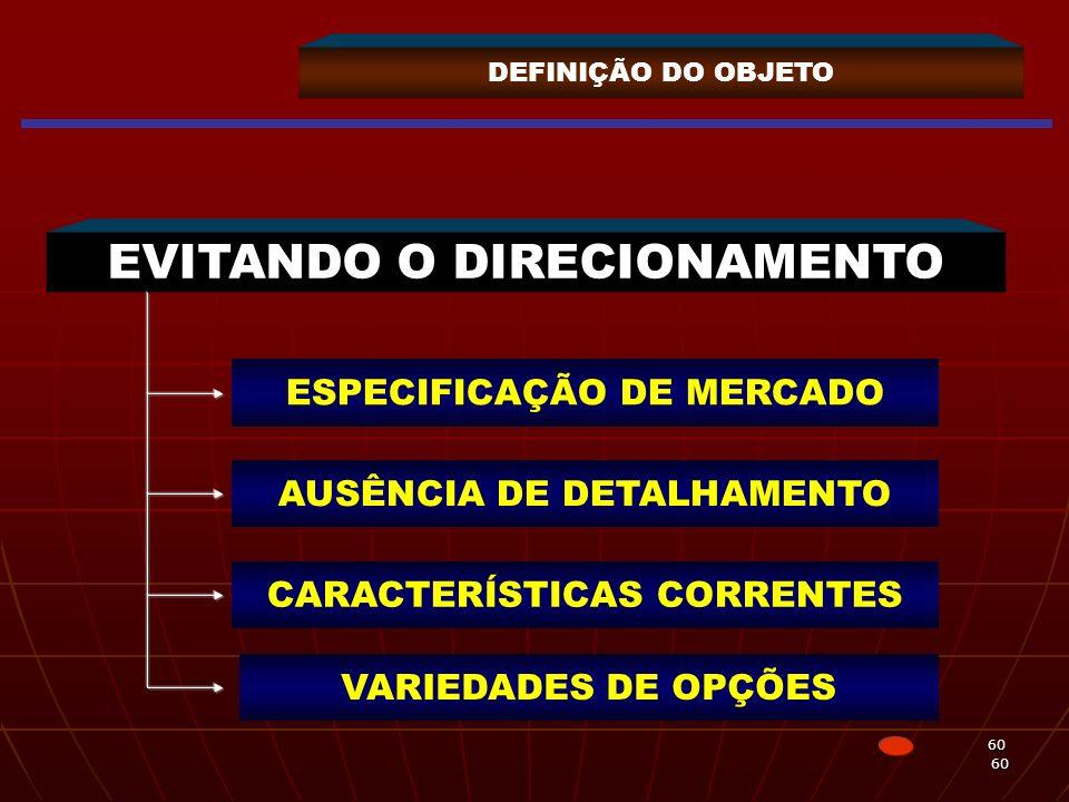 60 60 DEFINIÇÃO DO OBJETO EVITANDO O DIRECIONAMENTO ESPECIFICAÇÃO DE MERCADO AUSÊNCIA DE DETALHAMENTO CARACTERÍSTICAS CORRENTES VARIEDADES DE OPÇÕES