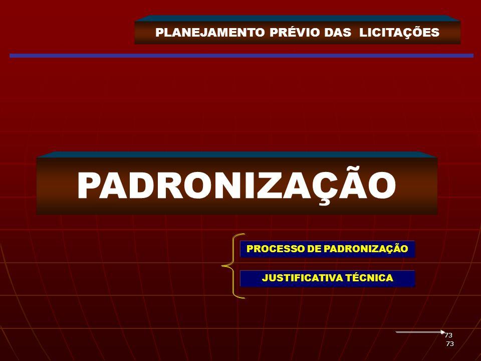 73 73 PLANEJAMENTO PRÉVIO DAS LICITAÇÕES PADRONIZAÇÃO PROCESSO DE PADRONIZAÇÃO JUSTIFICATIVA TÉCNICA