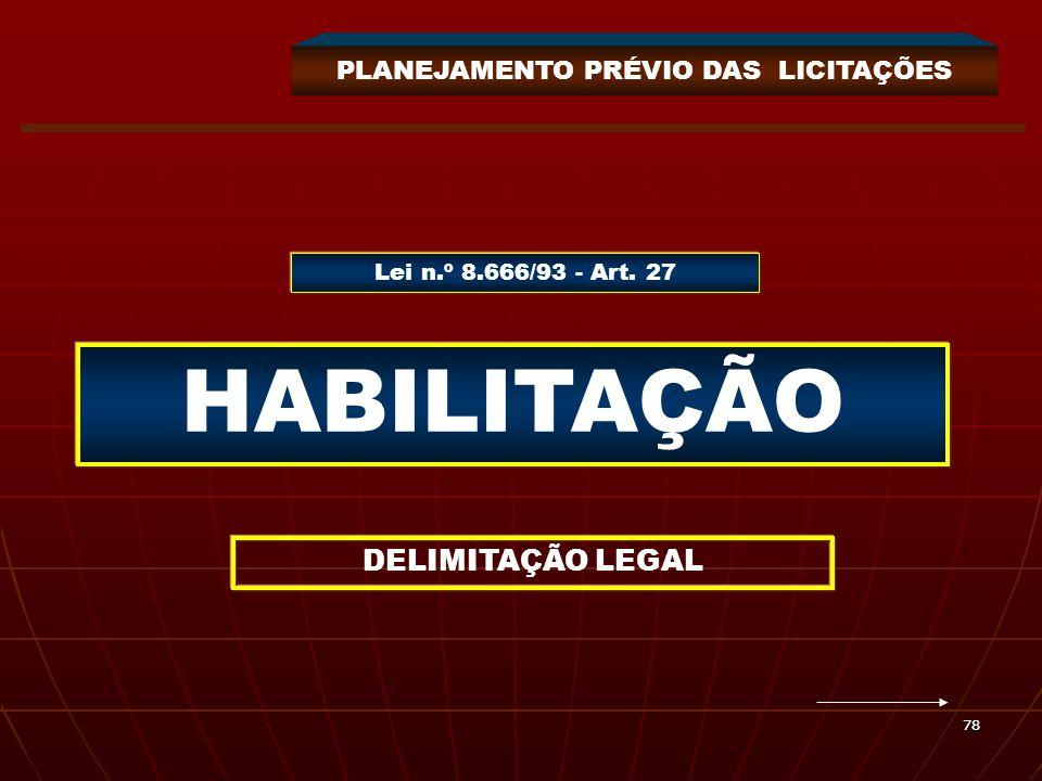 7878 HABILITAÇÃO DELIMITAÇÃO LEGAL Lei n.º 8.666/93 - Art. 27 PLANEJAMENTO PRÉVIO DAS LICITAÇÕES