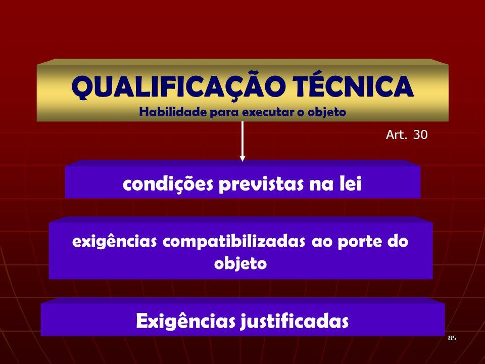 8585 condições previstas na lei QUALIFICAÇÃO TÉCNICA Habilidade para executar o objeto exigências compatibilizadas ao porte do objeto Exigências justi
