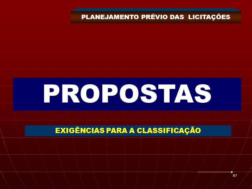 87 PROPOSTAS EXIGÊNCIAS PARA A CLASSIFICAÇÃO PLANEJAMENTO PRÉVIO DAS LICITAÇÕES