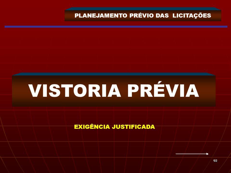 9292 PLANEJAMENTO PRÉVIO DAS LICITAÇÕES VISTORIA PRÉVIA EXIGÊNCIA JUSTIFICADA