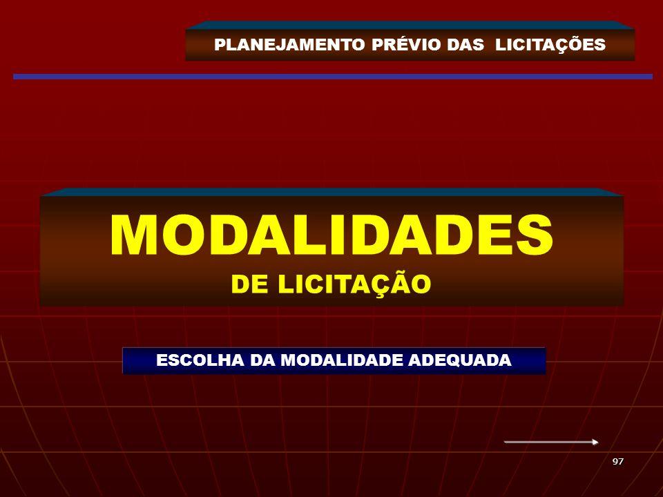 9797 PLANEJAMENTO PRÉVIO DAS LICITAÇÕES MODALIDADES DE LICITAÇÃO ESCOLHA DA MODALIDADE ADEQUADA