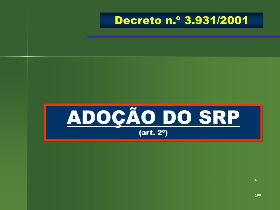 100 ADOÇÃO DO SRP (art. 2º) Decreto n.º 3.931/2001