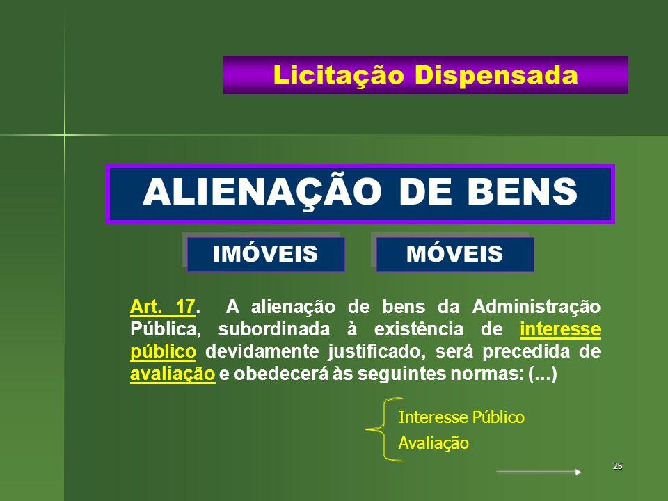 25 ALIENAÇÃO DE BENS Licitação Dispensada IMÓVEIS MÓVEIS Art. 17. A alienação de bens da Administração Pública, subordinada à existência de interesse