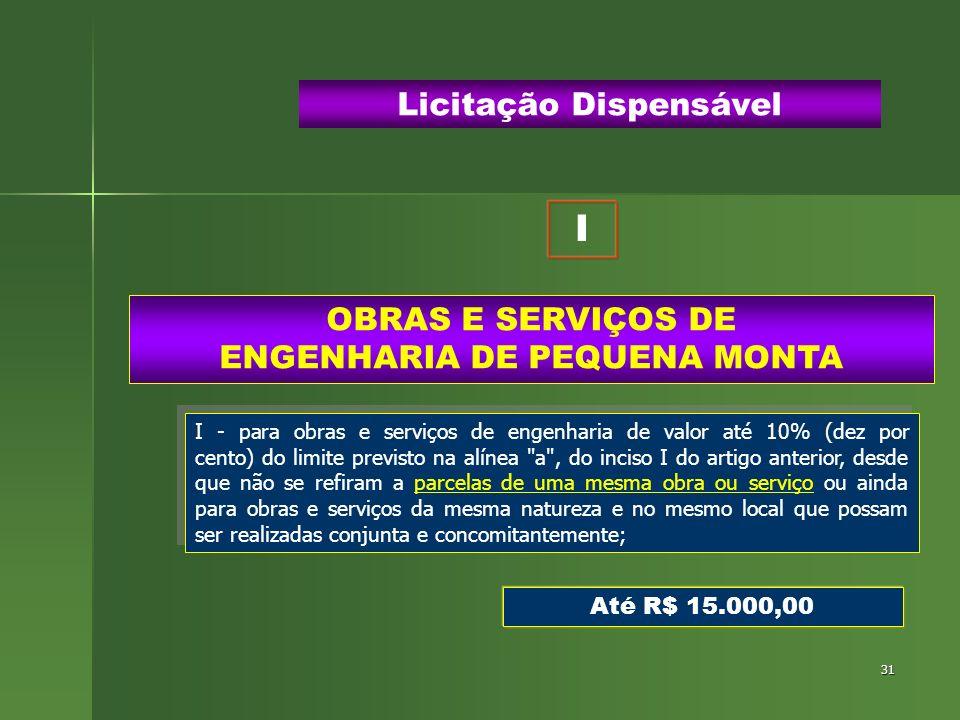 31 OBRAS E SERVIÇOS DE ENGENHARIA DE PEQUENA MONTA Licitação Dispensável I - para obras e serviços de engenharia de valor até 10% (dez por cento) do l