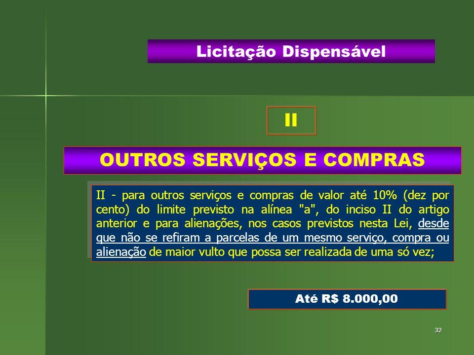 32 OUTROS SERVIÇOS E COMPRAS Licitação Dispensável II - para outros serviços e compras de valor até 10% (dez por cento) do limite previsto na alínea