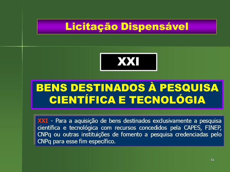 51 BENS DESTINADOS À PESQUISA CIENTÍFICA E TECNOLÓGIA Licitação Dispensável XXI - Para a aquisição de bens destinados exclusivamente a pesquisa cientí
