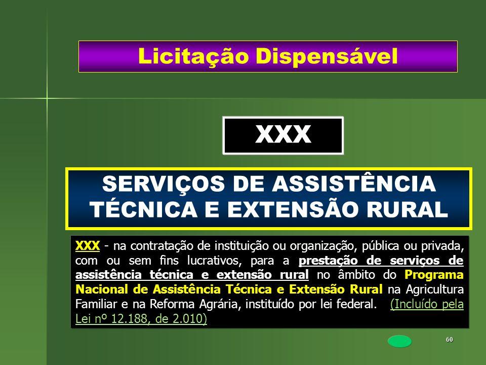 60 SERVIÇOS DE ASSISTÊNCIA TÉCNICA E EXTENSÃO RURAL Licitação Dispensável XXX XXX - na contratação de instituição ou organização, pública ou privada,