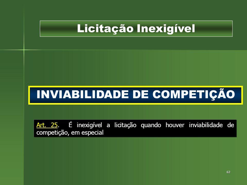 62 INVIABILIDADE DE COMPETIÇÃO Licitação Inexigível Art. 25. É inexigível a licitação quando houver inviabilidade de competição, em especial