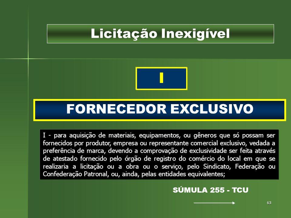 63 FORNECEDOR EXCLUSIVO Licitação Inexigível I I - para aquisição de materiais, equipamentos, ou gêneros que só possam ser fornecidos por produtor, em