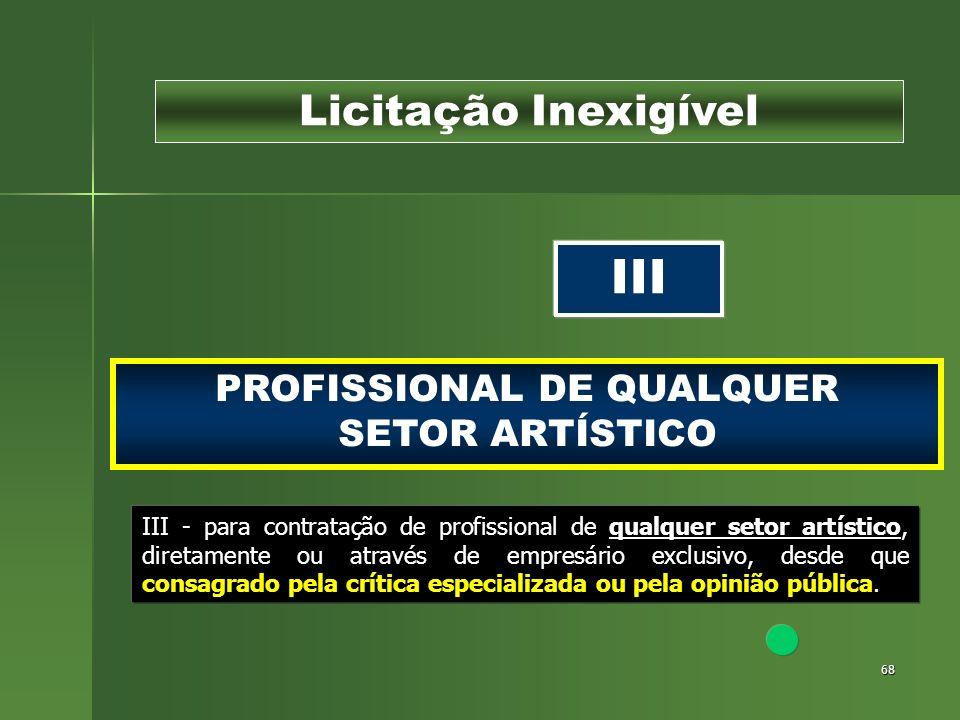 68 PROFISSIONAL DE QUALQUER SETOR ARTÍSTICO Licitação Inexigível III III - para contratação de profissional de qualquer setor artístico, diretamente o