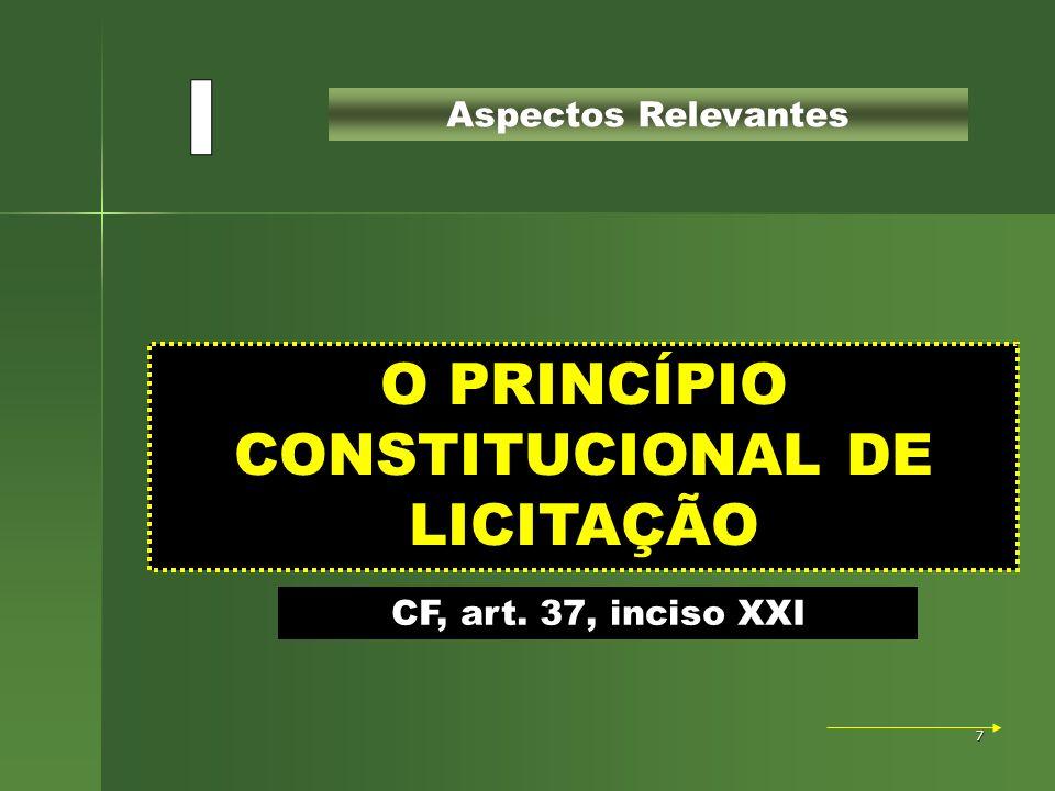 7 O PRINCÍPIO CONSTITUCIONAL DE LICITAÇÃO Aspectos Relevantes CF, art. 37, inciso XXI