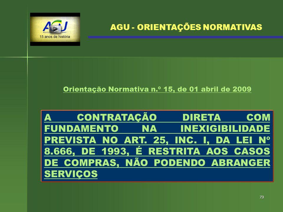 73 A CONTRATAÇÃO DIRETA COM FUNDAMENTO NA INEXIGIBILIDADE PREVISTA NO ART. 25, INC. I, DA LEI Nº 8.666, DE 1993, É RESTRITA AOS CASOS DE COMPRAS, NÃO