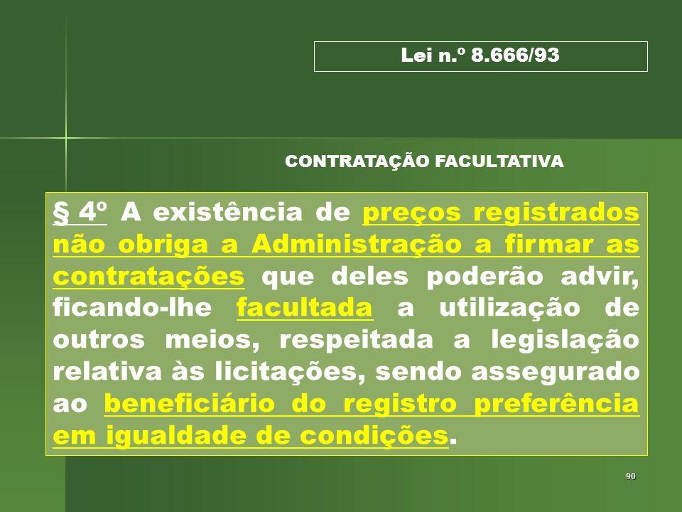 90 § 4º A existência de preços registrados não obriga a Administração a firmar as contratações que deles poderão advir, ficando-lhe facultada a utiliz