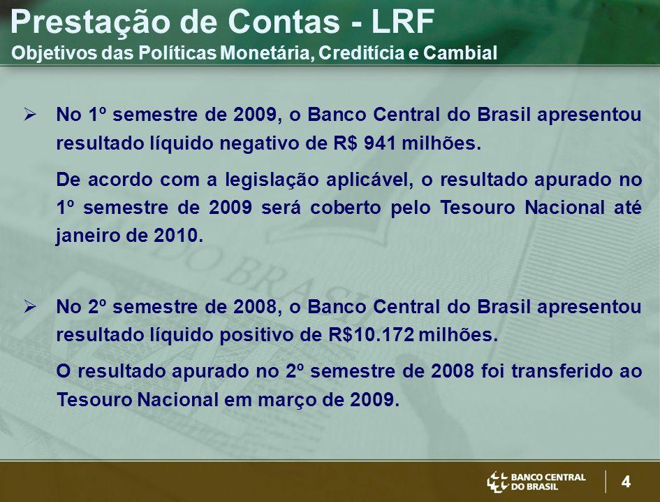 4 Prestação de Contas - LRF Objetivos das Políticas Monetária, Creditícia e Cambial No 1º semestre de 2009, o Banco Central do Brasil apresentou resultado líquido negativo de R$ 941 milhões.
