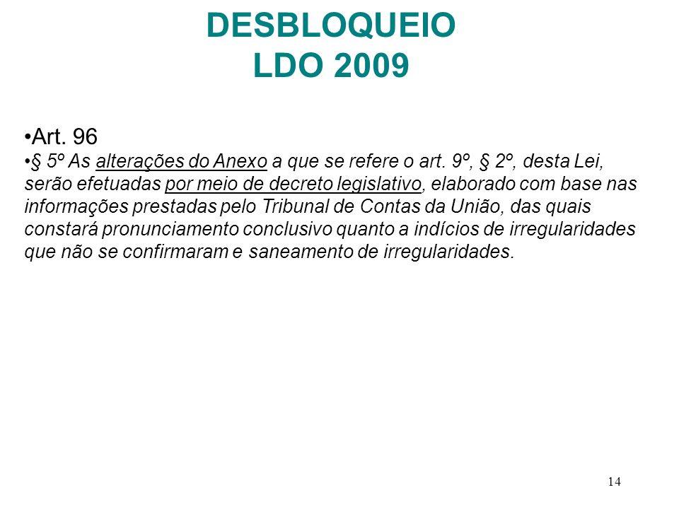 14 Art. 96 § 5º As alterações do Anexo a que se refere o art. 9º, § 2º, desta Lei, serão efetuadas por meio de decreto legislativo, elaborado com base