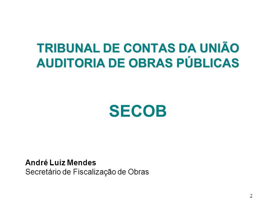 2 TRIBUNAL DE CONTAS DA UNIÃO AUDITORIA DE OBRAS PÚBLICAS SECOB André Luiz Mendes Secretário de Fiscalização de Obras