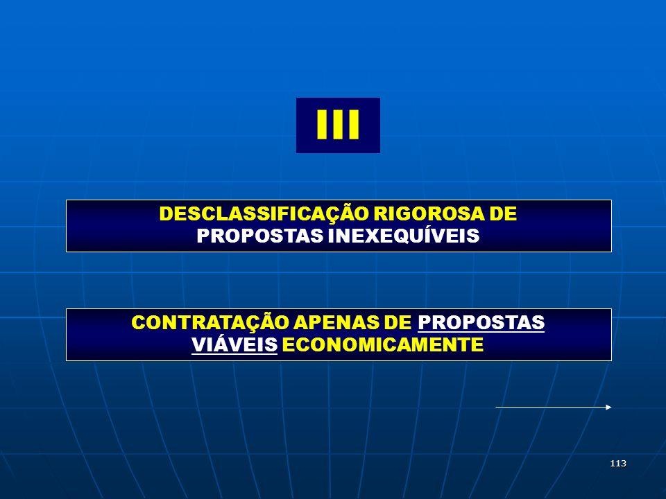 113 III DESCLASSIFICAÇÃO RIGOROSA DE PROPOSTAS INEXEQUÍVEIS CONTRATAÇÃO APENAS DE PROPOSTAS VIÁVEIS ECONOMICAMENTE