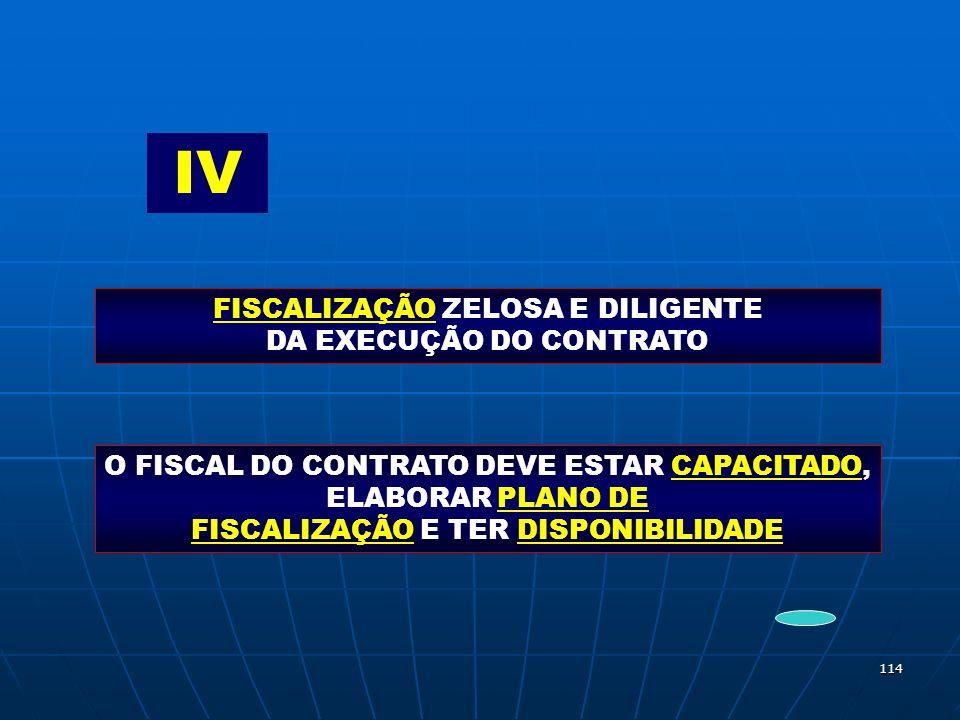 114 IV FISCALIZAÇÃO ZELOSA E DILIGENTE DA EXECUÇÃO DO CONTRATO O FISCAL DO CONTRATO DEVE ESTAR CAPACITADO, ELABORAR PLANO DE FISCALIZAÇÃO E TER DISPON