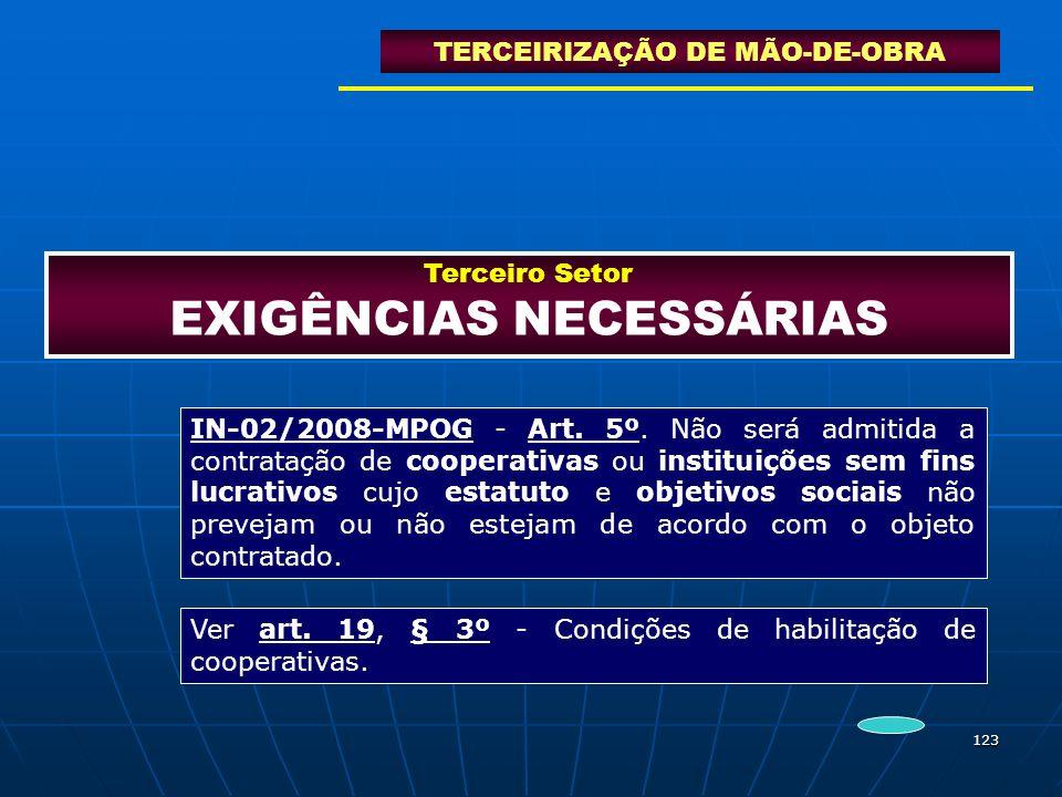 123 Terceiro Setor EXIGÊNCIAS NECESSÁRIAS TERCEIRIZAÇÃO DE MÃO-DE-OBRA IN-02/2008-MPOG - Art. 5º. Não será admitida a contratação de cooperativas ou i