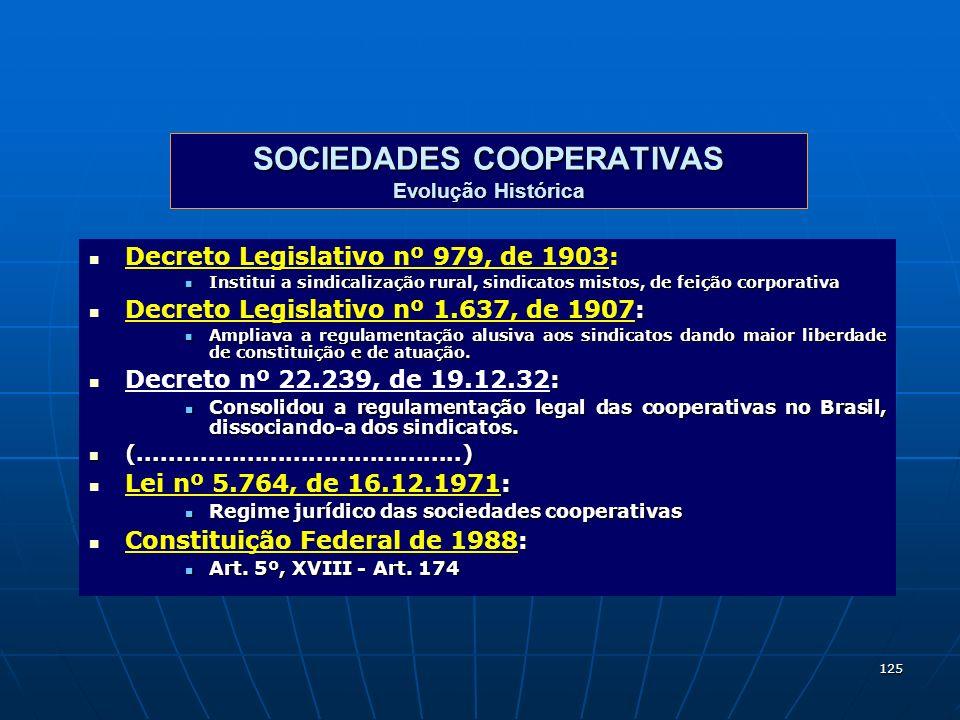 125 SOCIEDADES COOPERATIVAS Evolução Histórica Decreto Legislativo nº 979, de 1903: Institui a sindicalização rural, sindicatos mistos, de feição corp
