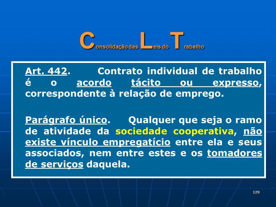 129 C onsolidação das L eis do T rabalho Art. 442.Contrato individual de trabalho é o acordo tácito ou expresso, correspondente à relação de emprego.