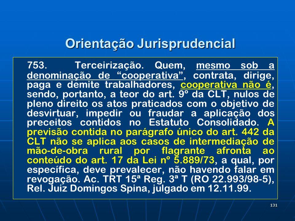 131 Orientação Jurisprudencial 753.Terceirização. Quem, mesmo sob a denominação de cooperativa, contrata, dirige, paga e demite trabalhadores, coopera