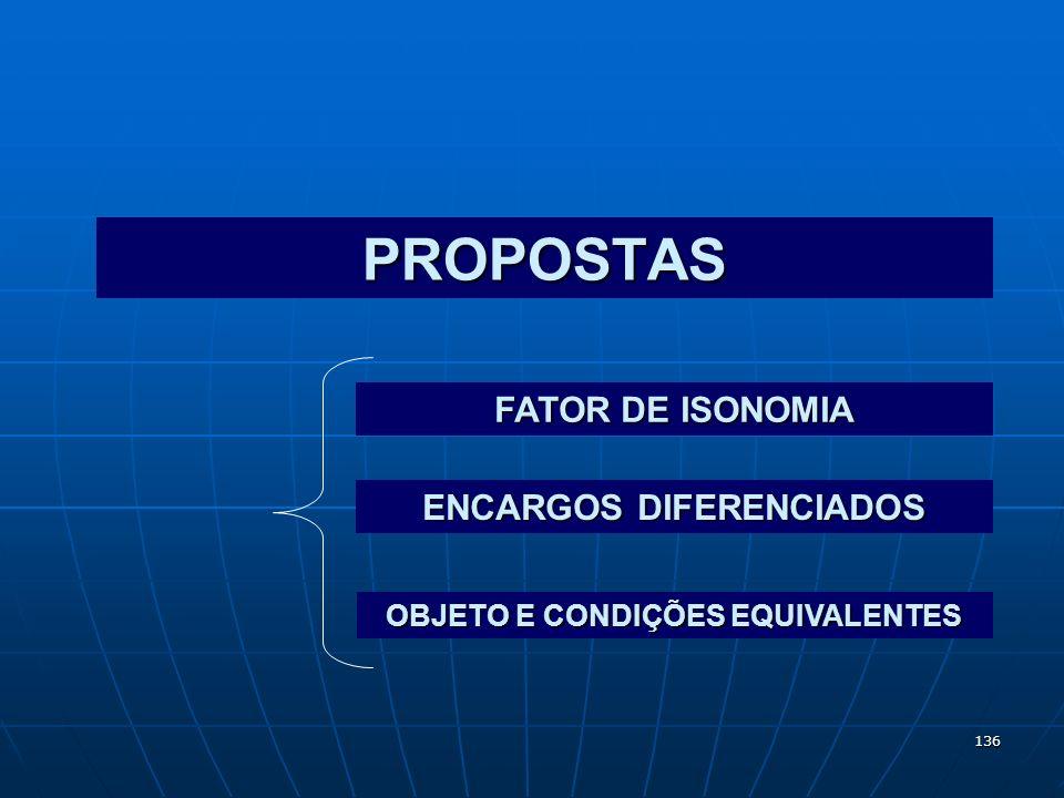 136 PROPOSTAS FATOR DE ISONOMIA ENCARGOS DIFERENCIADOS OBJETO E CONDIÇÕES EQUIVALENTES