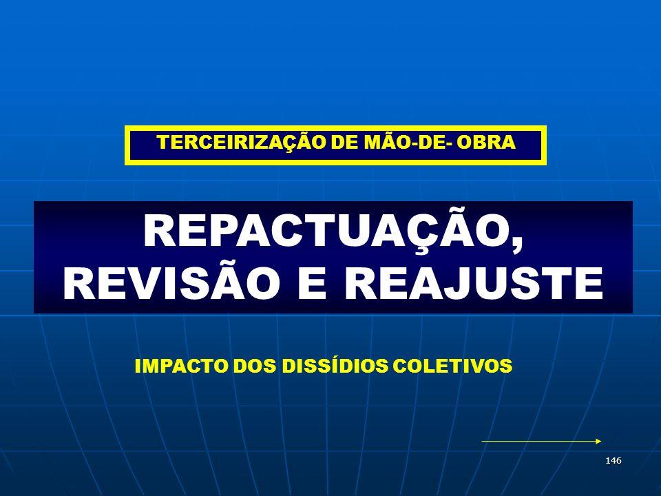 146 REPACTUAÇÃO, REVISÃO E REAJUSTE TERCEIRIZAÇÃO DE MÃO-DE- OBRA IMPACTO DOS DISSÍDIOS COLETIVOS