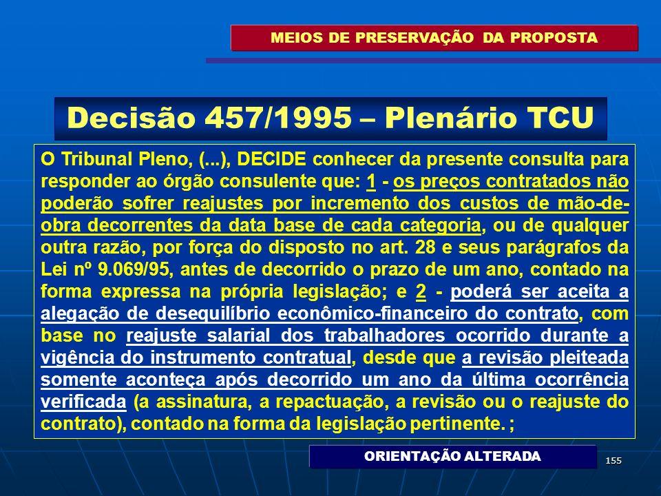 155 MEIOS DE PRESERVAÇÃO DA PROPOSTA O Tribunal Pleno, (...), DECIDE conhecer da presente consulta para responder ao órgão consulente que: 1 - os preç