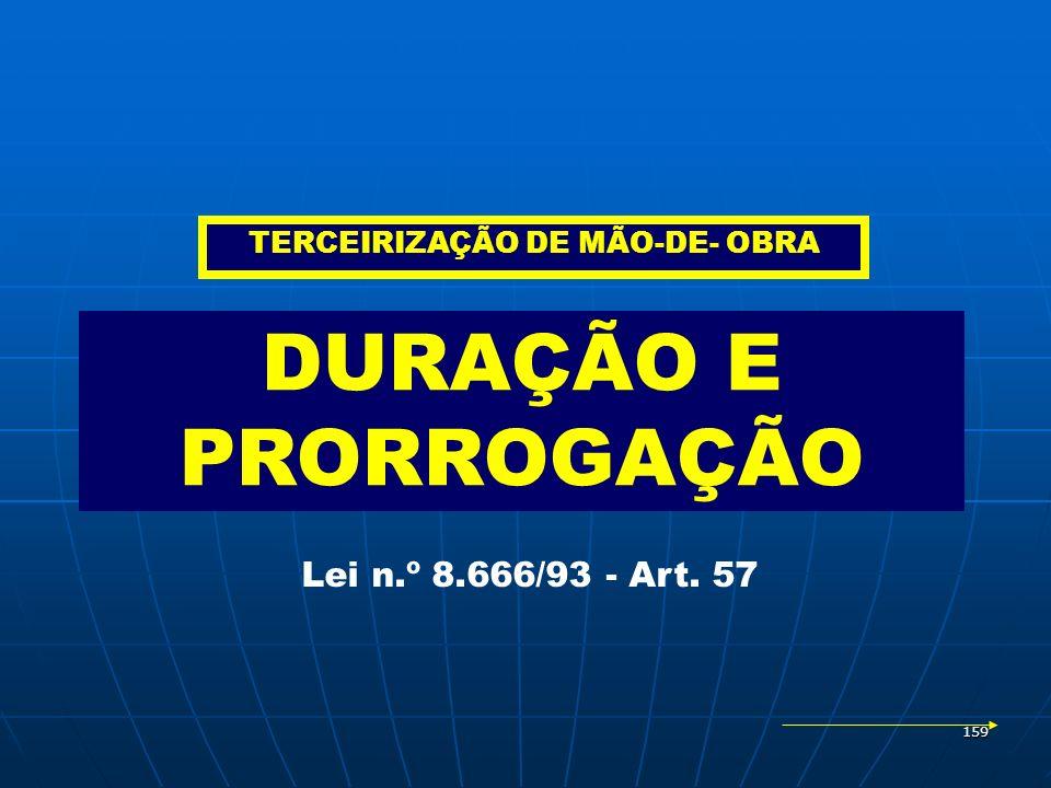 159 DURAÇÃO E PRORROGAÇÃO Lei n.º 8.666/93 - Art. 57 TERCEIRIZAÇÃO DE MÃO-DE- OBRA