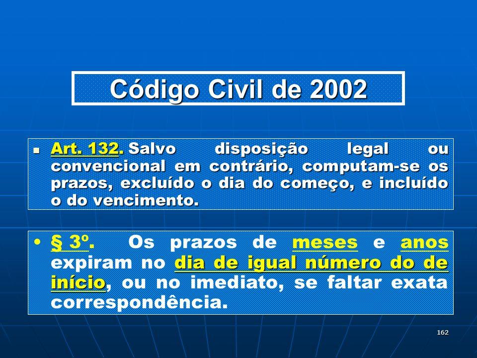 162 Código Civil de 2002 Art. 132.Salvo disposição legal ou convencional em contrário, computam-se os prazos, excluído o dia do começo, e incluído o d