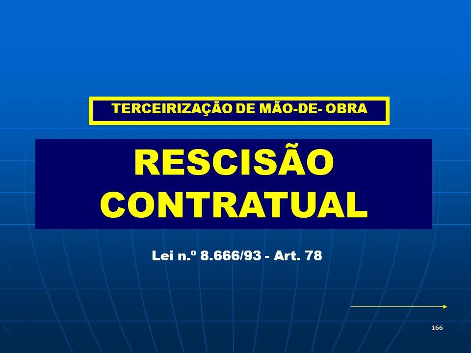 166 RESCISÃO CONTRATUAL Lei n.º 8.666/93 - Art. 78 TERCEIRIZAÇÃO DE MÃO-DE- OBRA