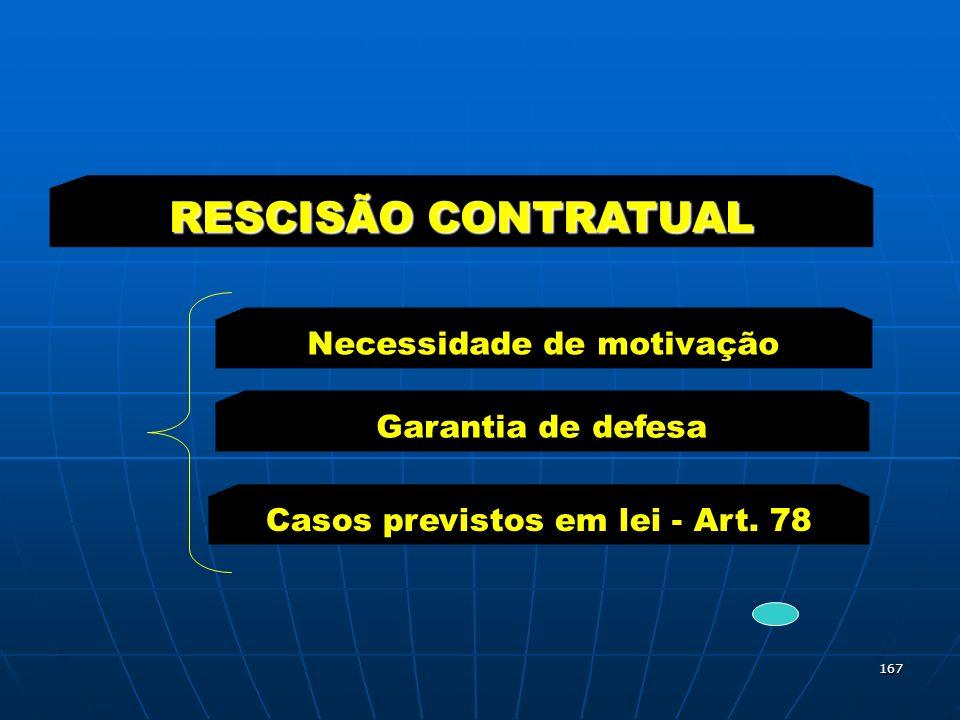 167 Necessidade de motivação RESCISÃO CONTRATUAL Garantia de defesa Casos previstos em lei - Art. 78