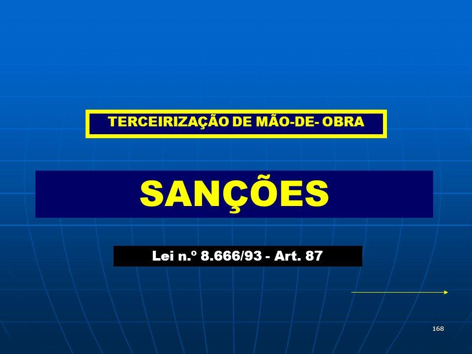 168 SANÇÕES Lei n.º 8.666/93 - Art. 87 TERCEIRIZAÇÃO DE MÃO-DE- OBRA