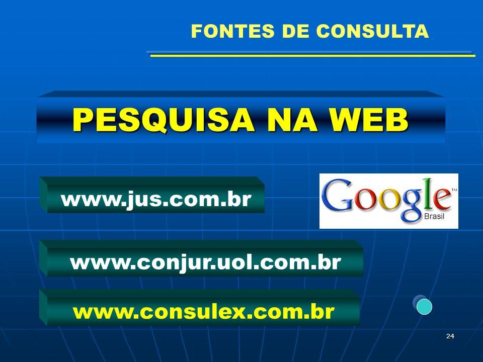 24 PESQUISA NA WEB www.conjur.uol.com.br www.jus.com.br www.consulex.com.br FONTES DE CONSULTA