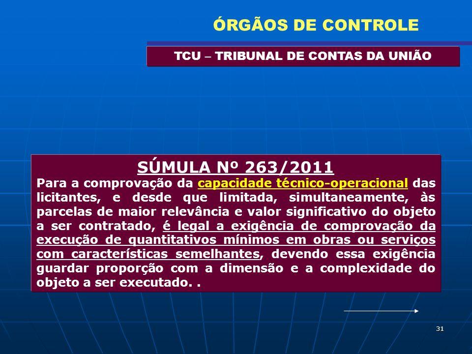 31 TCU – TRIBUNAL DE CONTAS DA UNIÃO ÓRGÃOS DE CONTROLE SÚMULA Nº 263/2011 Para a comprovação da capacidade técnico-operacional das licitantes, e desd