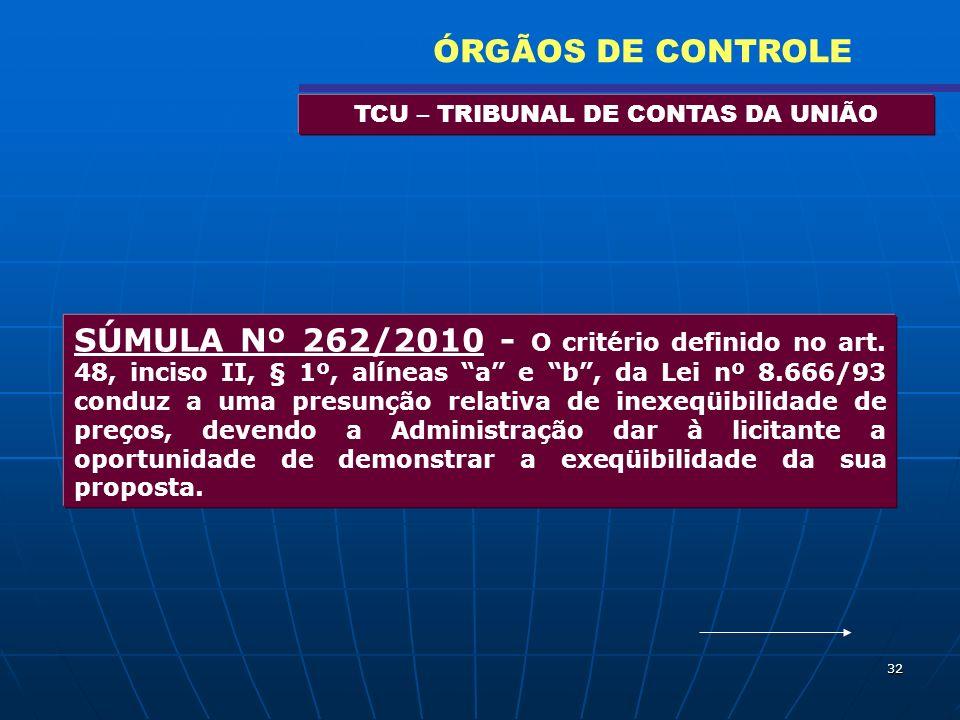 32 TCU – TRIBUNAL DE CONTAS DA UNIÃO ÓRGÃOS DE CONTROLE SÚMULA Nº 262/2010 - O critério definido no art. 48, inciso II, § 1º, alíneas a e b, da Lei nº