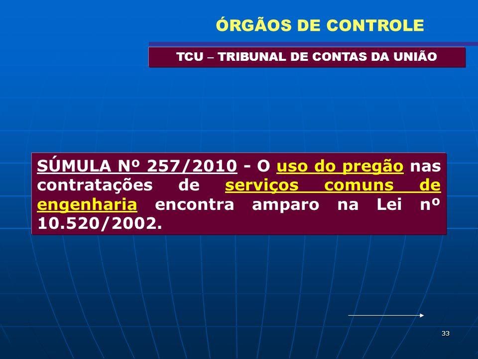 33 TCU – TRIBUNAL DE CONTAS DA UNIÃO ÓRGÃOS DE CONTROLE SÚMULA Nº 257/2010 - O uso do pregão nas contratações de serviços comuns de engenharia encontr