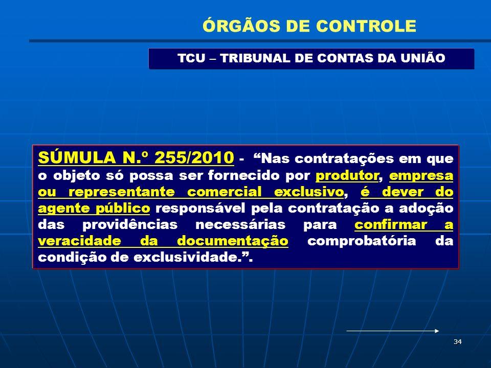 34 TCU – TRIBUNAL DE CONTAS DA UNIÃO ÓRGÃOS DE CONTROLE SÚMULA N.º 255/2010 - Nas contratações em que o objeto só possa ser fornecido por produtor, em