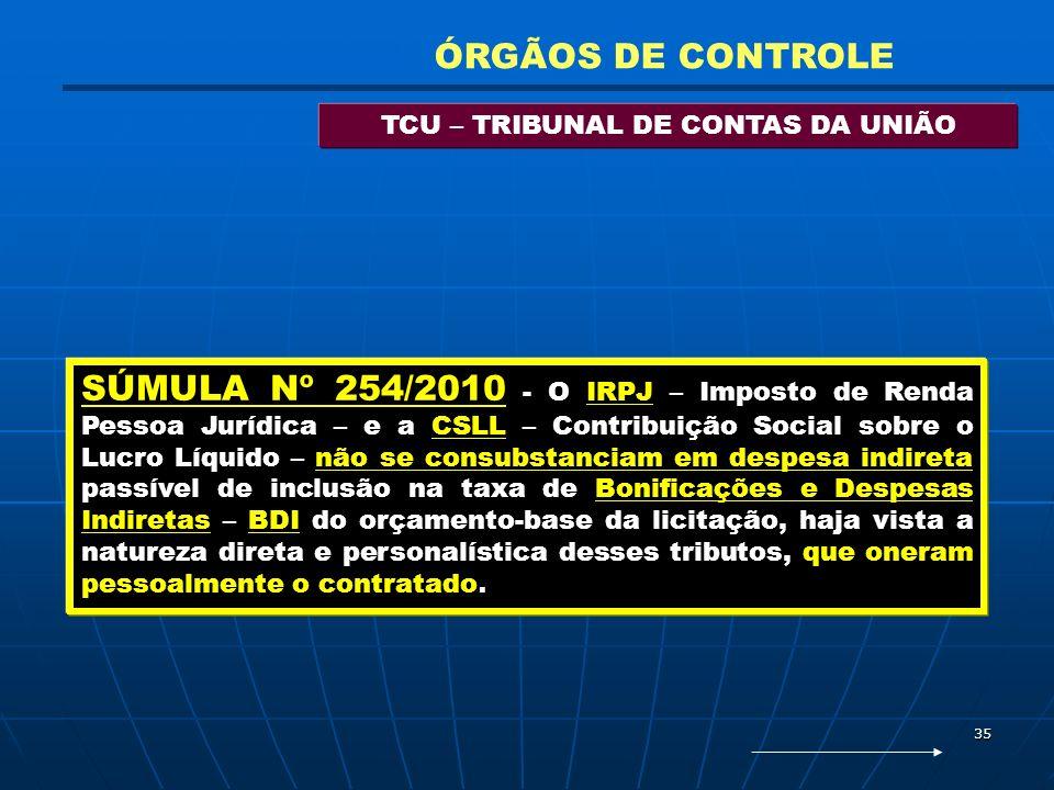 35 TCU – TRIBUNAL DE CONTAS DA UNIÃO ÓRGÃOS DE CONTROLE SÚMULA Nº 254/2010 - O IRPJ – Imposto de Renda Pessoa Jurídica – e a CSLL – Contribuição Socia