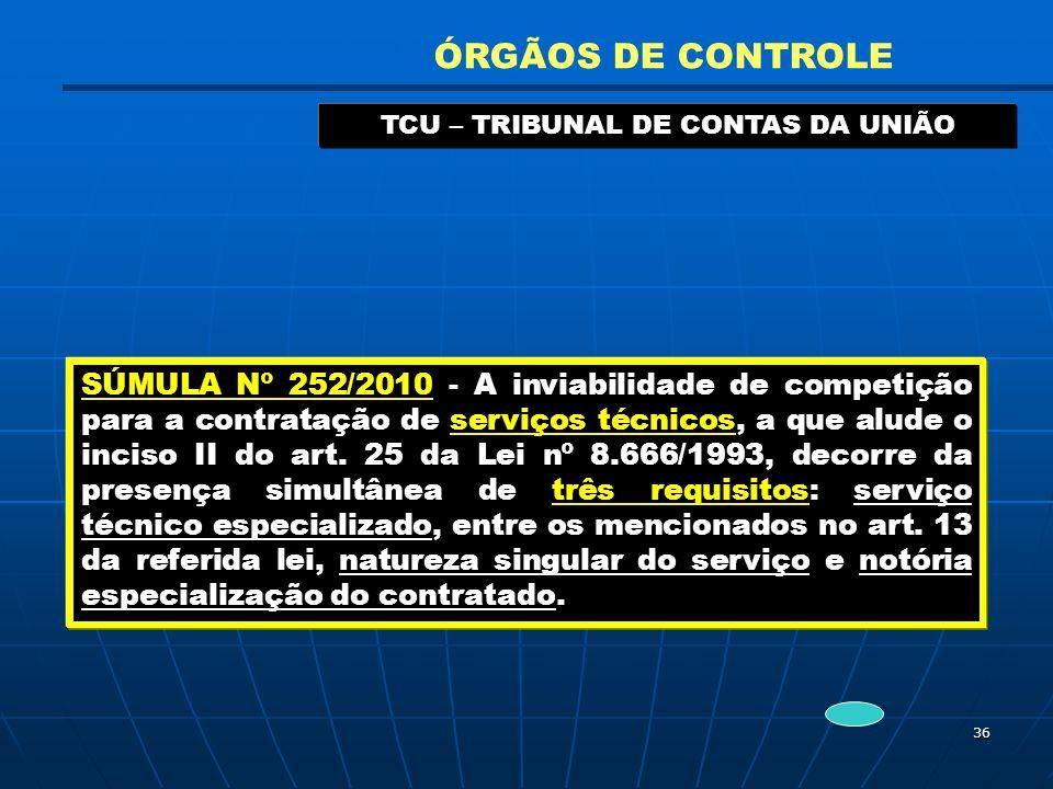 36 TCU – TRIBUNAL DE CONTAS DA UNIÃO ÓRGÃOS DE CONTROLE SÚMULA Nº 252/2010 - A inviabilidade de competição para a contratação de serviços técnicos, a