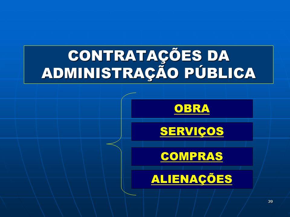 39 CONTRATAÇÕES DA ADMINISTRAÇÃO PÚBLICA OBRA SERVIÇOS COMPRAS ALIENAÇÕES