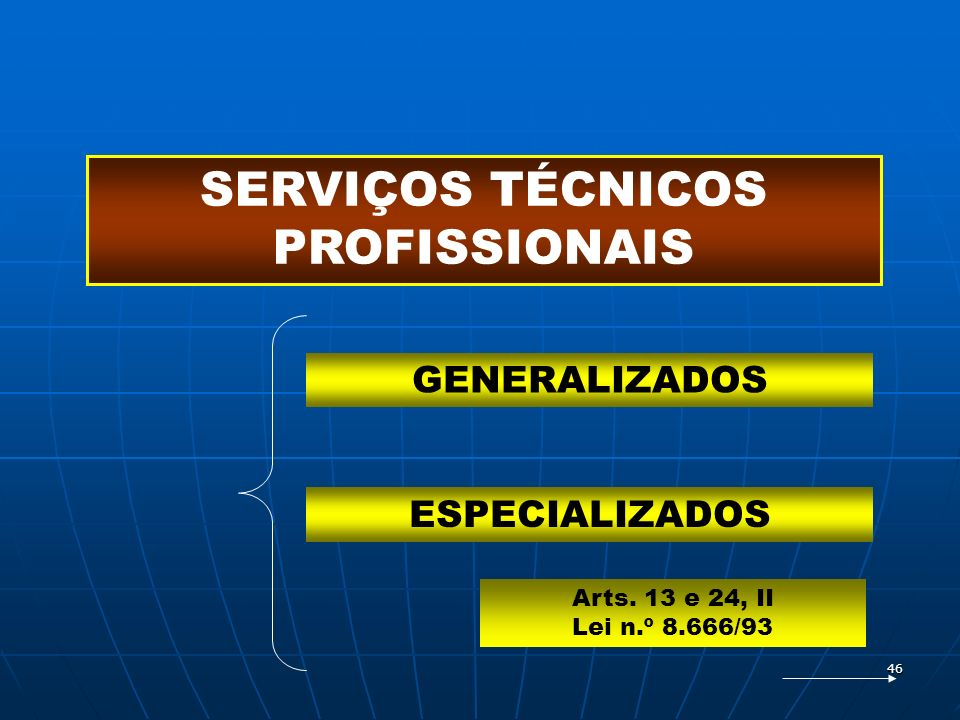 46 SERVIÇOS TÉCNICOS PROFISSIONAIS GENERALIZADOS ESPECIALIZADOS Arts. 13 e 24, II Lei n.º 8.666/93