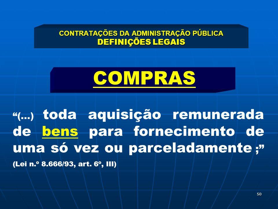 50 CONTRATAÇÕES DA ADMINISTRAÇÃO PÚBLICA DEFINIÇÕES LEGAIS (...) toda aquisição remunerada de bens para fornecimento de uma só vez ou parceladamente ;